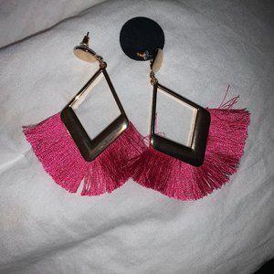 Forever 21 Hot Pink Fringe Drop Earrings